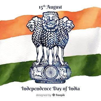 Fundo de dia da independência de aquarela índia