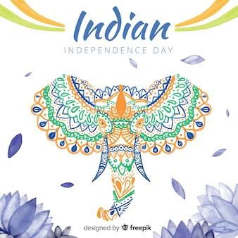 Fundo de dia da independência de india elefante aquarela