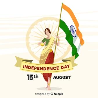Fundo de dia da independência de india mão desenhada