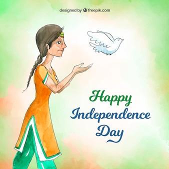 Fundo de dia da independência indiana aquarela com pombo