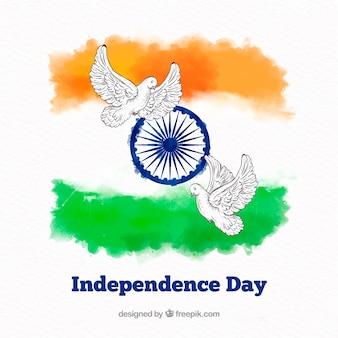 Fundo de dia da independência indiana aquarela com pombos