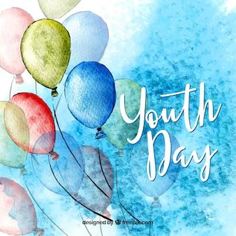 Fundo de dia da juventude com balões