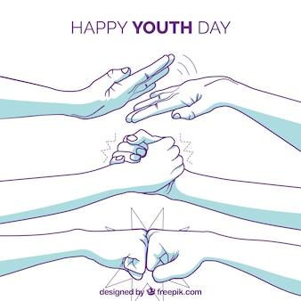 Fundo de dia da juventude com braços de mão desenhada
