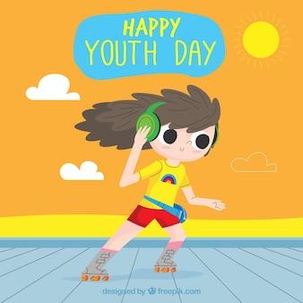 Fundo de dia da juventude com garota de patins