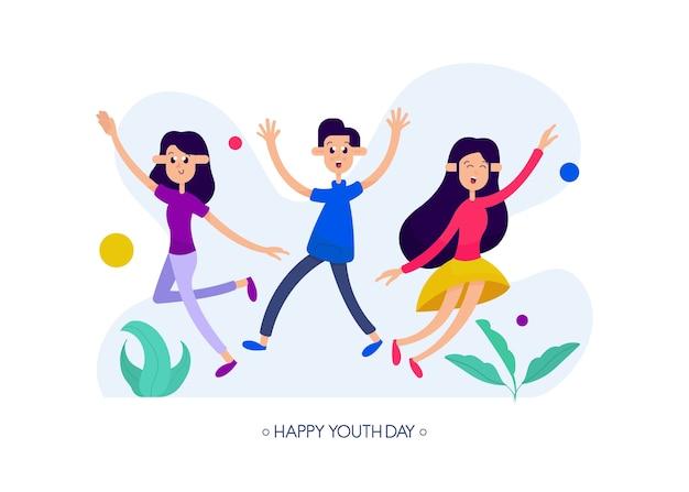 Fundo de dia da juventude com ilustração de pessoas felizes