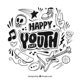 Fundo de dia da juventude com letras