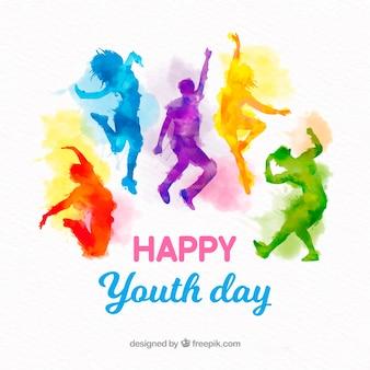 Fundo de dia da juventude com silhuetas em aquarela