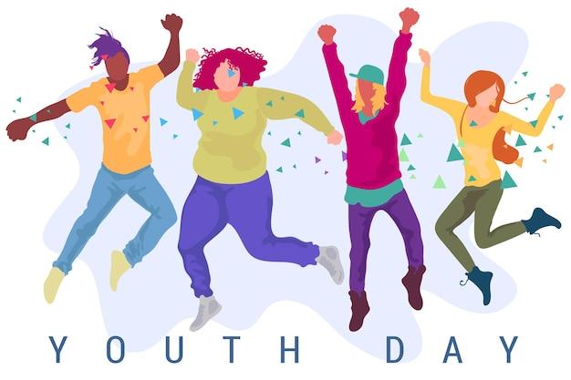 Fundo de dia da juventude de design plano