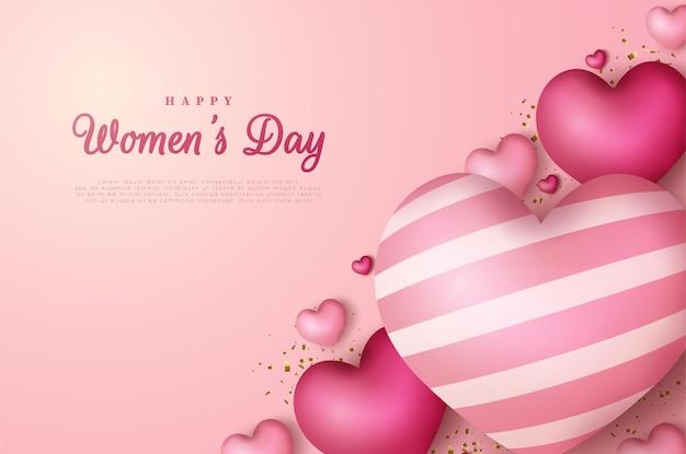 Fundo de dia da mulher com balões de amor.