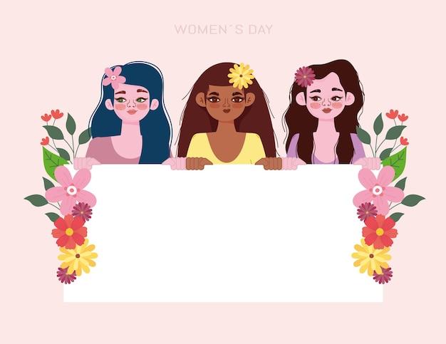 Fundo de dia da mulher com flores e banner em branco