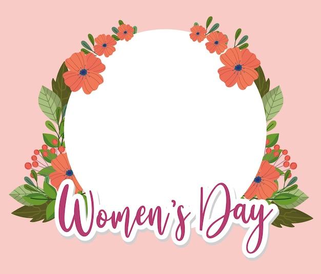 Fundo de dia da mulher com moldura floral
