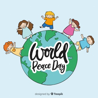 Fundo de dia da paz de mão desenhada