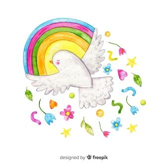 Fundo de dia da paz em aquarela com pomba