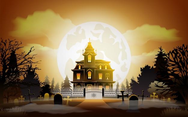 Fundo de dia das bruxas. antiga casa assustadora.