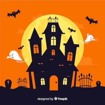 Fundo de dia das bruxas assustador com design liso