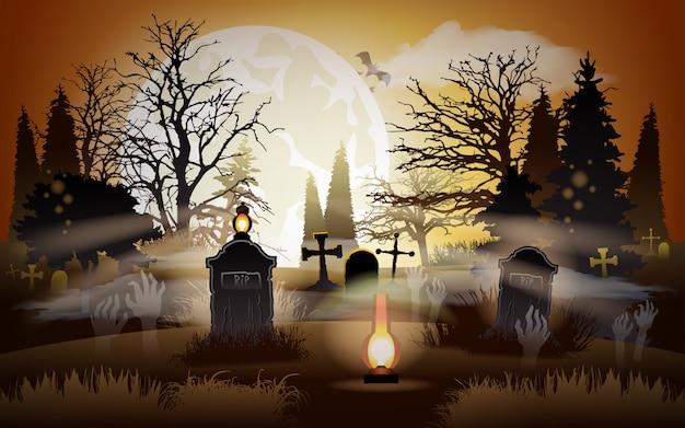 Fundo de dia das bruxas. cemitério. cemitério.