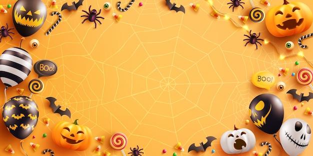 Fundo de dia das bruxas com abóbora de halloween fofa e balões fantasma.