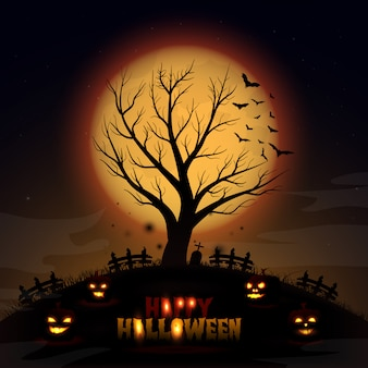 Fundo de dia das bruxas com árvore e abóbora