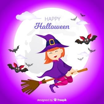 Fundo de dia das bruxas com bruxa voadora