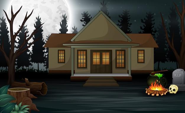 Fundo de dia das bruxas com casa assustadora e lua cheia