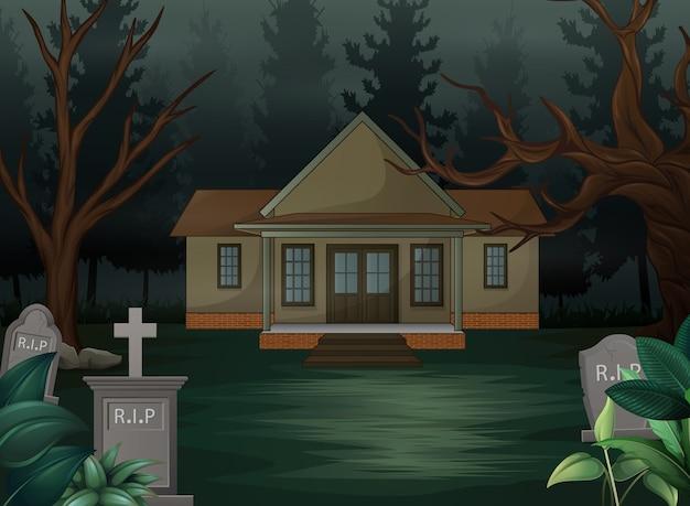 Fundo de dia das bruxas com casa assustadora na noite