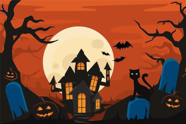 Fundo de dia das bruxas com casa assustadora