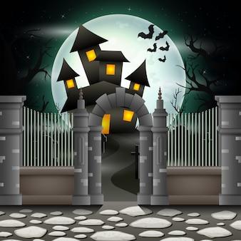 Fundo de dia das bruxas com casa em lua cheia