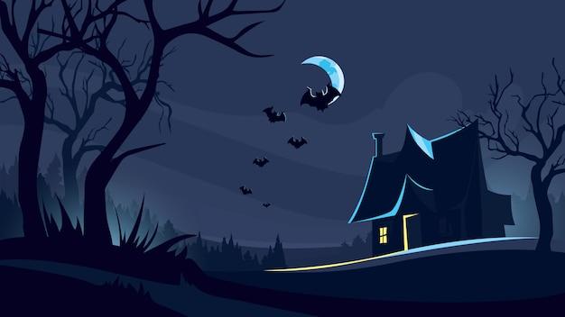 Fundo de dia das bruxas com casa na floresta escura.