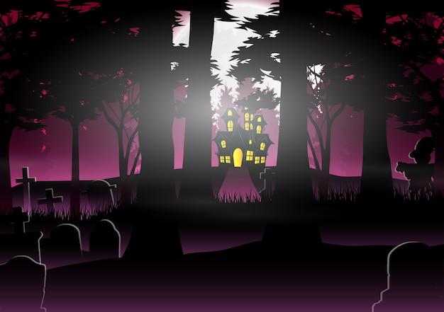 Fundo de dia das bruxas com casa na floresta