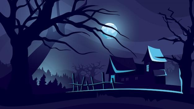 Fundo de dia das bruxas com casa sob o luar.