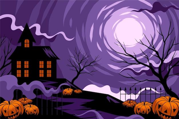 Fundo de dia das bruxas com casa