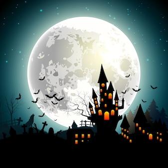 Fundo de dia das bruxas com castelo assombrado, morcegos na lua cheia
