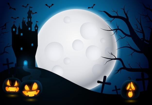 Fundo de dia das bruxas com castelo e lua