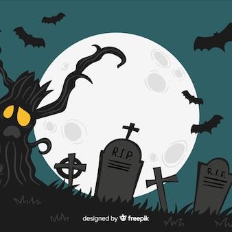 Fundo de dia das bruxas com cemitério assustador