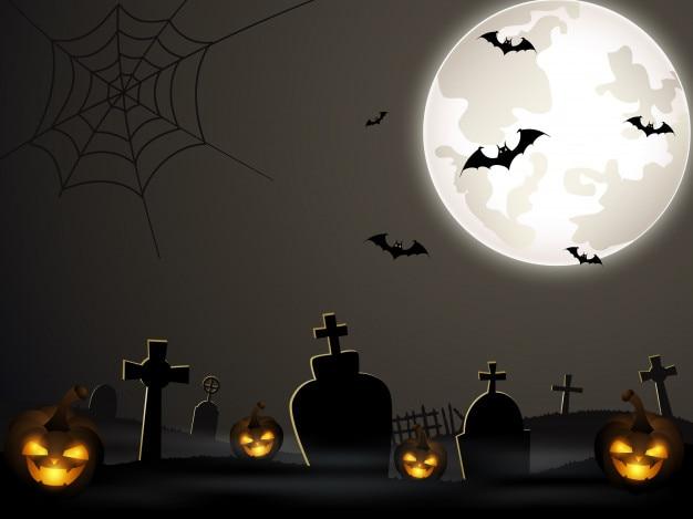 Fundo de dia das bruxas com cemitério e morcegos