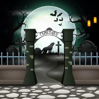 Fundo de dia das bruxas com cemitério em lua cheia