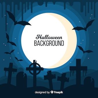 Fundo de dia das bruxas com cemitério, morcegos e lua cheia