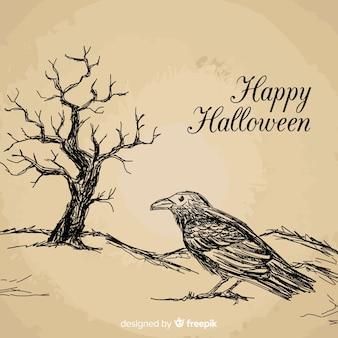 Fundo de dia das bruxas com corvo