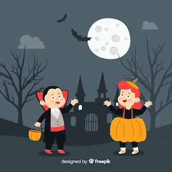 Fundo de dia das bruxas com crianças disfarçadas