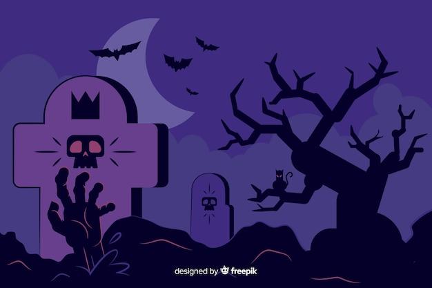Fundo de dia das bruxas com design plano