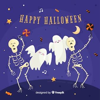 Fundo de dia das bruxas com esqueletos