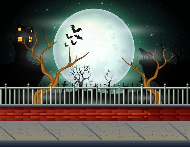Fundo de dia das bruxas com fundo de lua cheia