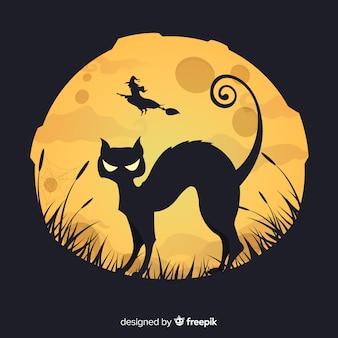 Fundo de dia das bruxas com gato preto
