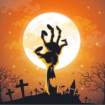 Fundo de dia das bruxas com mãos de zumbi na lua cheia.