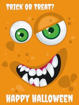 Fundo de dia das bruxas com o monstro de expressão dos desenhos animados.