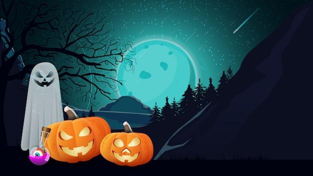 Fundo de dia das bruxas com paisagem noturna, fantasmas e abóbora jack