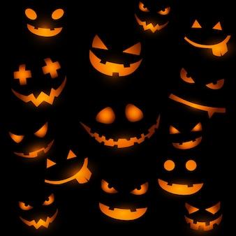 Fundo de dia das bruxas com rostos de abóbora brilhantes