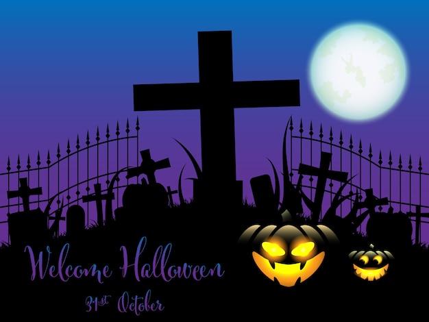 Fundo de dia das bruxas com texto de boas vindas de halloween.