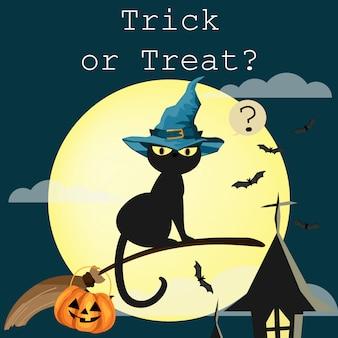 Fundo de dia das bruxas com texto trick or treat.