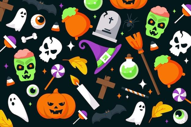 Fundo de dia das bruxas design plano